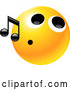 Vector of Yellow Emoticon Face with a Tight Mouth, Whistling Tunes by Tonis Pan