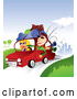 Vector of Young Couple with Camping Gear on Top of Their Car, Taking a Summer Vacation Away from the City by TA Images